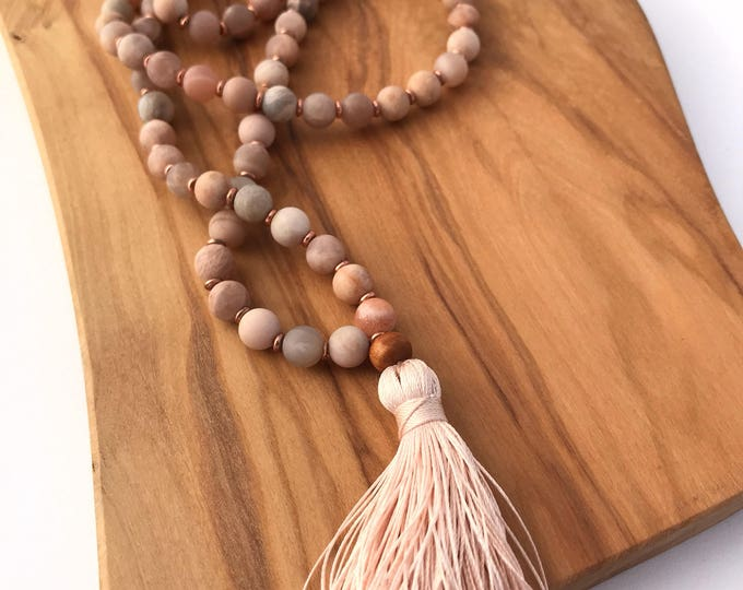 matte sunstone traditional 108 bead mala necklace with sandalwood bead