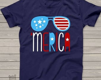 SALE - ships in time 4th America shirt - summertime stars and stripes - 'merica KIDS tshirt - perfect for July 4th festivities - SFJ-002v