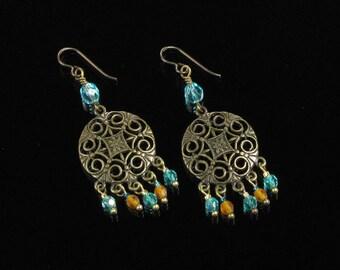 Boho Brass Earrings, Chandelier Earrings, Bohemian Jewelry Long Dangle Earrings, Hippie Earrings, Boho Niobium Earrings, Unique Jewelry Gift
