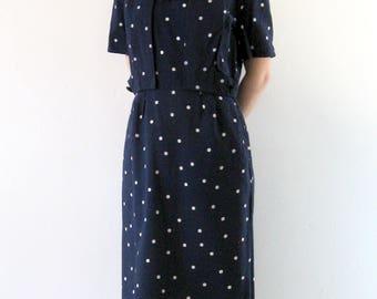1950s Dress Vintage Polka Dot Jacket Set Navy Blue White Pin-Up Rockabilly Wiggle Dress S