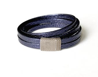 Denim/Indigo Blue Leather Wrap Bracelet