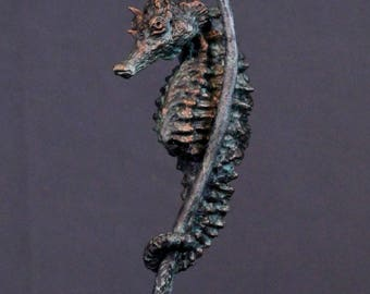 Limited Edition Seahorse Sculpture Bronze finish with green patina #3 of 25