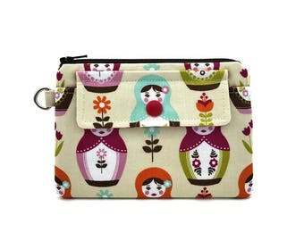 Russian doll Zipper Pouch - Card Wallet - Small Coin Purse - Snap Pouch - Gift for her - Gift idea - Padded Pouch