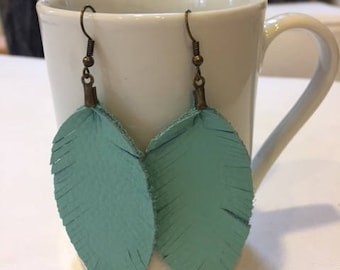 Turquoise Feather Leather Earrings