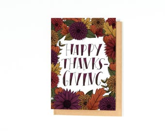 Happy Thanksgiving Card - Fall Greeting Card - Thanksgiving Greetings - Autumn Card - Floral Illustration - Mums - Pumpkins - Foliage