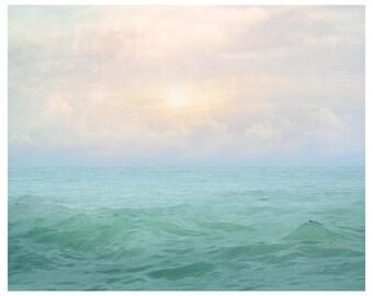 Pastel print, Sea photography, large ocean wall art, nature photo, abstract  water artwork, dorm wall art, bedroom wall decor, 18x24, 24x30