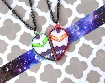 Pidge & Hunk Heart Necklace Set