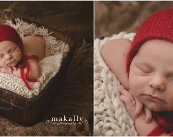 Red Newborn Hat, Red Hat, Red Mohair Newborn Hat, Red Mohair Bonnet, Newborn Knit Hat, Great Newborn Photography Prop