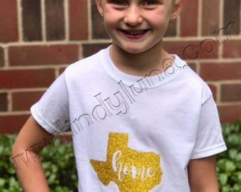 """Child's tank top or tee-shirt with gold glitter Texas emblem and """"home"""" cut-out"""