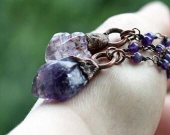 Amethyst Necklace Electroformed Copper Necklace Amethyst Rosary Crystal Necklace Electroformed Pendant Purple Crystal