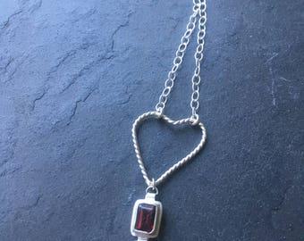 Meteorite Necklace - garnet red pendant - january birthstone - garnet necklace - birthstone necklace - heart necklace - birthstone jewelry