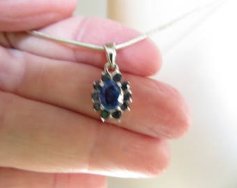 Art Deco 3.57ctw Genuine Blue Sapphire Cluster 925 Silver Dangle Pendant & 925 20 Inch Chain, Wt. 6.7 G