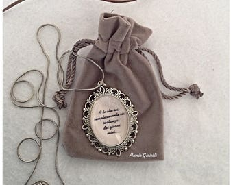 Necklace with customizable dedication-pendant with quotes-Valentine's Day gift Idea-gift for music lovers-gift for her