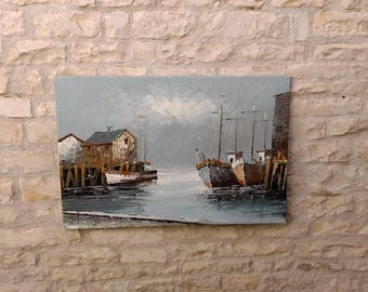 Very Large French vintage /antique heavy textured oil on canvas seascape / maritime painting, signed.