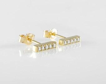 Ear crawler, Diamond Bar Earrings, Ear climer, Bar Stud Earrings, Gols bar studs, Line earrings, Gold earrings, Gift for her, Holiday gift