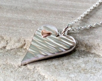 Silver heart necklace, anninversary gift, gift for wife, Valentine gift, romantic gift, copper silver necklace, hammered, handmade