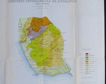 1916 Andalucia, Andalusia Spain Antique Map: Regiones Petroliferas, Conil-Barbate. Rare Geologic Map by Juan Gavala. Original Antique