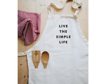 Women's Aprons, Apron, Live the Simple Life,  Apron Woman, Full Apron, Apron With Pockets, Gardening Apron, Kitchen Apron, Minimalist