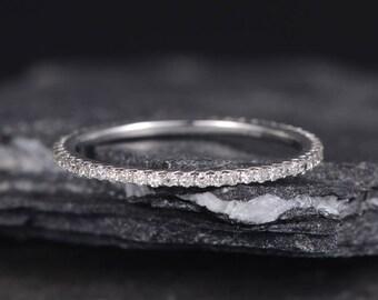 White Gold Wedding Band Women Diamond Eternity Band Minimalist Delicate Stacking Ring Thin Dainty Bridal Matching Anniversary Promise