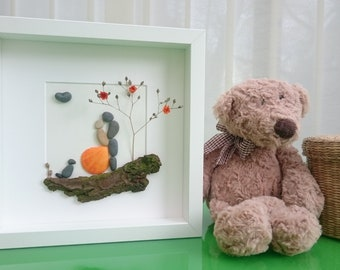 Pebble art couple with pet, Pebble art wedding, Pebble art family 2, Pebble art dog, Valentine's day, Anniversary gift, Wedding gift,