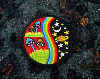 Mushroom Space Patch - Embroidered - Iron On/Sew On   Handmade