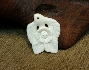 Flower & Leaves carved in Natural Buffalo Bone