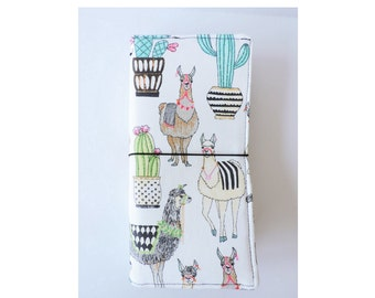 Llama/Cactus Fabric Fauxdori - Cream Standard Traveler's Notebook Cover - Vegan Fauxdori - Canvas Moleskin/TN Cover - Fabric Pocket Midori