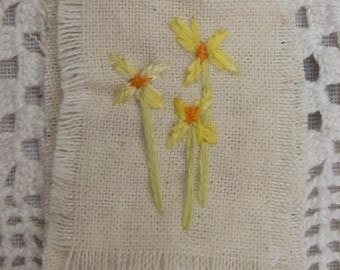 Embroidered Daffodil Mini Textile , Floral Art , Original Art , Embroidered Picture ,  Home Decor, Art And Collectables