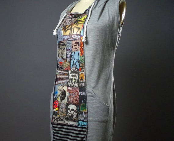 Graffiti Hoodie Dress - Casual Summer Dress - Street Wear - Up-cycled Clothing