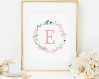 Floral Nursery Initial Printable Letter E Personalized Nursery Wall Art Pink Floral Wreath Pink Nursery Monogram Nursery Letters Aqua 259