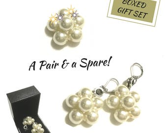 Pearl Cluster Drop Earrings, Bridesmaid Gifts, A Pair and Spare Earring Set, Unique Friendship Gift, Spare as a Brooch,Boxed Gift Set