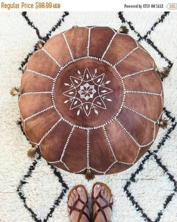 SPRING 30% OFF SALE /// Autumn 30 Percent Off Sale /Tan Brown Moroccan Leather Pouf with Tassels & Pompoms >> for Home gifts, wedding gifts,