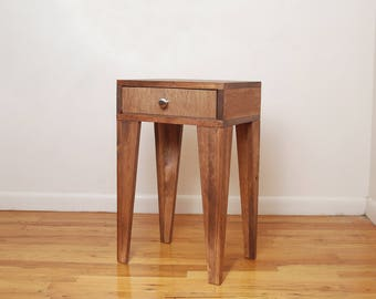 Tall Angle Leg Nightstand, Side Table, End Table- Walnut