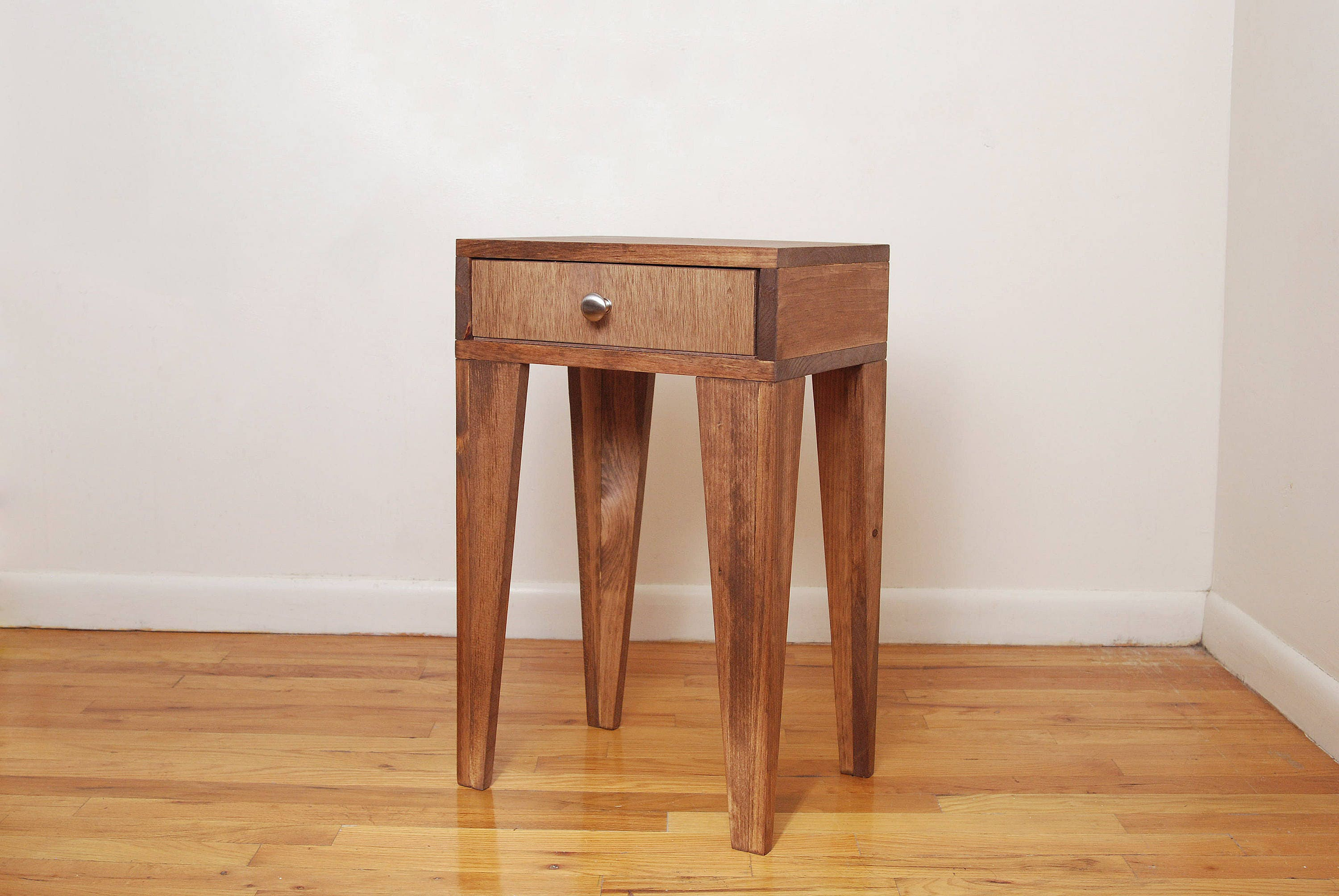 Make A Side Table Taller: Tall Angle Leg Nightstand Side Table End Table Walnut