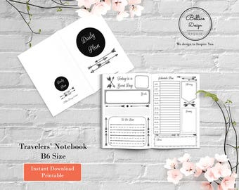 B6 Printable Inserts, Boho Arrow B6 Insert, Foxy Fix B6, Daily Planner Printable, Undated Daily Planner, Day on 2 Pages, Travelers Notebook