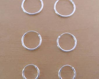925 Sterling Silver Sleeper Thin HOOP Earrings 8 mm, 10 mm, 12 mm, 14 mm, 16 mm or 18 mm Diameter and 1.5 mm Thickness
