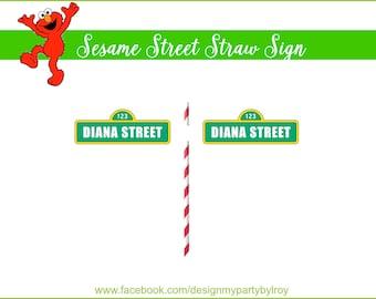 30 CUSTOM MINI SESAME Street Straw Signs, Sesame Street Party, Elmo Party, Sesame Street Party Printable,Sesame Street Signs,Sesame Street.