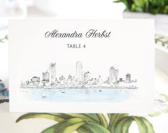 Milwaukee Skyline Folded Place Cards BLANK, Milwaukee Wedding, Placecards, Seating Cards, Escort Cards, Day of Event  (Set of 25 Cards)