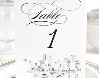 Boston Skyline Table Numbers, Boston Wedding (1-10)