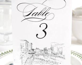 Greenville Skyline Table Numbers, South Carolina Wedding (1-10)