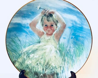Frances Hook, A Child's Play, Collector Plate, Nursery Decor, Breezy Day, Little Girl