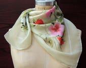 SALE - Farmhouse Petunia Silk Scarf: Red Pink Floral Valentines Day, Wedding Bridal Gift. Mid Century Retro. 30 in Fun Fashion Scarves SC72