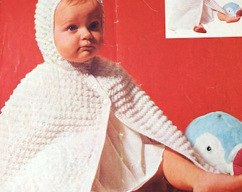 Vintage crochet pattern 1970's Patons 633 Baby hooded cape fits up to 9 months 5 ply/sports weight