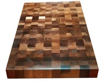 Walnut End Grain Butcher Block Cutting Board Chaotic Pattern