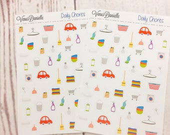 Daily Chores Planner Stickers, Cleaning Stickers, Chore Stickers, Tidy Stickers, Laundry stickers, Clean, Car Stickers, Do Laundry,