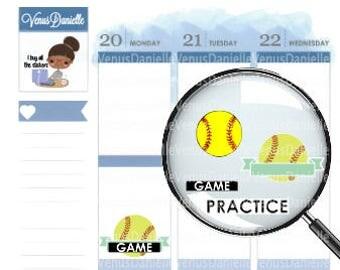 Softball,Practice Planner Stickers, Softball Stickers,  Softball Games, Softball Practices, Softball Tournaments, Sports Stickers,