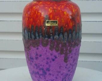 Scheurich Rainbow Vase - Fat Lava Drip Volcanic Mid Century Modern West German Pottery - Orange Purple Red Blue Europ Linie