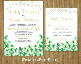 Romantic Rustic Shamrock Wedding Invitation,Irish,Kelly Green,Gold,White,St.Patrick's Day,Four Leaf Clover,Fairy Lights,Gold Print,Shimmery
