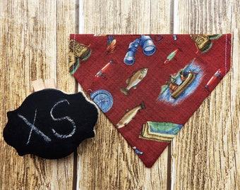 Camping XS Dog Bandana. Outdoors dog bandana. Camping dog bandana. Fishing dog bandana. Fish dog bandana. XS dog bandana. Tiny dog bandana.