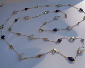 Endless necklace, gemstone necklace, Moonstone, Amethyst, lapis lazuli, 585 gold filled